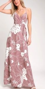 NWT Lulu's Tropic Floral Print Mauve Pink Dress L